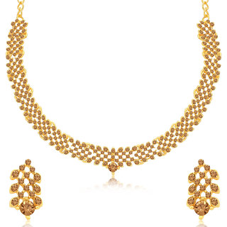 Sukkhi Gorgeous LCT Gold Plated Choker Necklace Set for Women