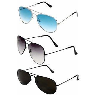 D DEBONAIR Aviator Unisex Combo Of Sunglasses(Blackblack-Halfblack-Silverblue)