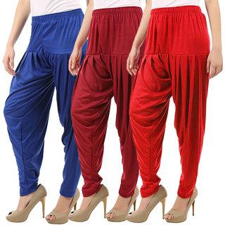 Women's Cotton Viscose Lycra Dhoti Patiyala Salwar Harem Bottoms Pants Red Maroon RoyalBlue Combo Pack of 3