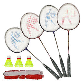 Hipkoo Power 04 Rackets Set Of 4 with Net and 3 Shuttles Badminton Kit