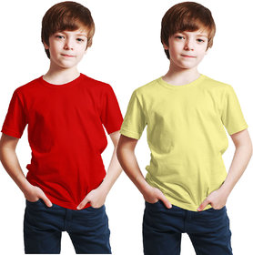 Haoser Kids Red & Yellow Solid Cotton T- Shirt Pack Of 2