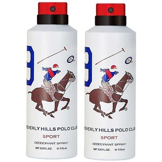 Beverly Hills Polo Club Sport No 9 Deodorant for Men Combo pack of 2 175ml each 350ml
