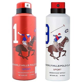 Beverly Hills Polo Club Sport No 1 and 9 Deodorant for Men Combo pack of 2 175ml each 350ml