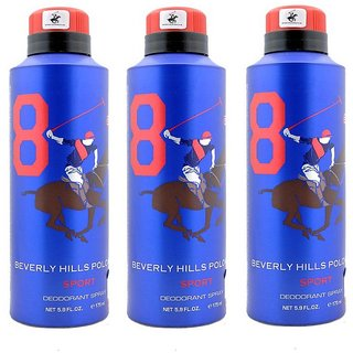Beverly Hills Polo Club Sport No 8 Deodorant for Men Combo pack of 3 175ml each 525ml