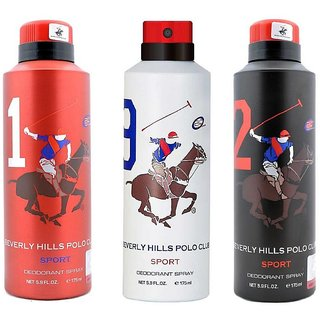 Beverly Hills Polo Club Sport No 1 9 and 2 Deodorant for Men Combo pack of 3 175ml each 525ml