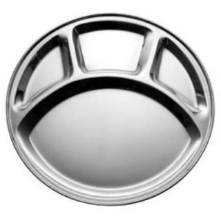 UMANG Stainless Steel Round mess tray / plate (Set of 8 )