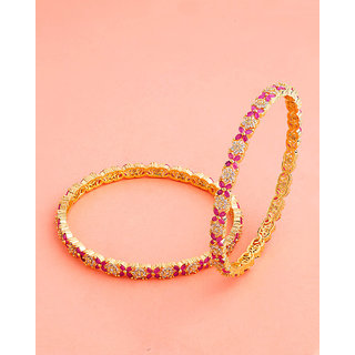 Voylla Coloured CZ Gems Embellished Bangles