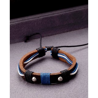 Dare by Voylla Cool Stacked Leather Blue Wrap Bracelet