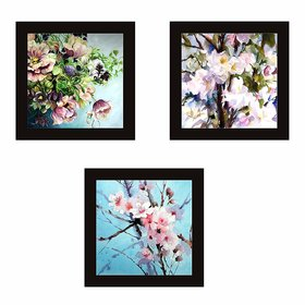 kartik Break Resistant Clear Acrylic Glass Flowers Bouquet 23x23 cm Wall Painting with Wooden Frame (Synthetic, Multi