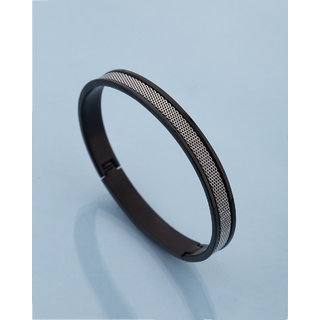 Dare by Voylla Cufflets Textured Black and Silver Bracelet