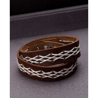 Dare by Voylla White Thread Braided Brown Cool Stacked Bracelet