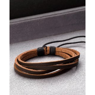 Dare by Voylla Cool Stacked Multi Strip Brown Leather Bracelet