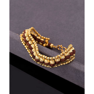 Dare by Voylla Gold Plated Brass Bracelet with Faux Rudraksha