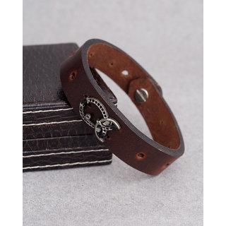 Dare by Voylla Horseshoe Leather-Look Rugged Bracelet
