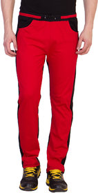 Haoser Red Cotton Self Design Stylish Track Pants For Mens