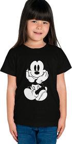 Haoser Girl's Black Cotton Printed Regular Fit T-Shirt