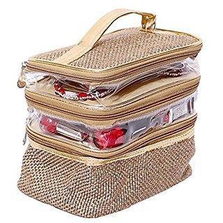 Kuber Industries Make Up Kit, Vanity Kit, Cosmetic Kit, Jewellery Kit (Jute Design) KI002030