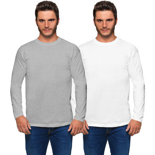 Haoser Solid White and Grey Pack of 2 Round Neck  Full Sleeves Cotton T-Shirt for Men (mens t shirt combo)