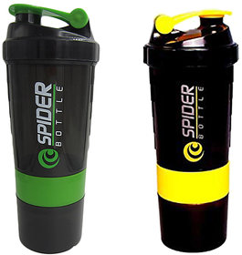 Spider Combo of Shaker 500 ML 500 ml Shaker  (Green,Yellow)