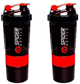 Spider Combo of  Shaker 500 ML 500 ml Shaker  (Pack of 2, Red)