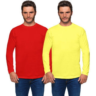 Haoser Men's Red and Yellow Colour Slim Fit Round Neck Full Sleeves Cotton Solid T-Shirt Pack of 2
