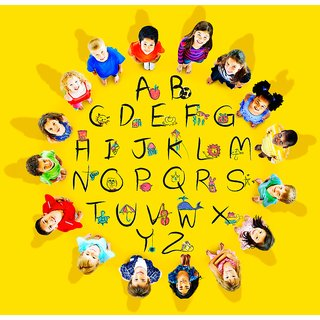 english alphabets  Alphabets and numbers wall sticker paper poster |Sticker Paper Poster, 12x18 Inch