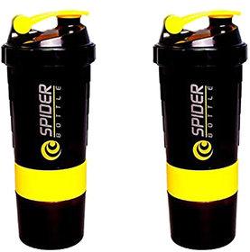 Spider Combo of  Shaker 500 ML 500 ml Shaker  (Pack of 2,Yellow)