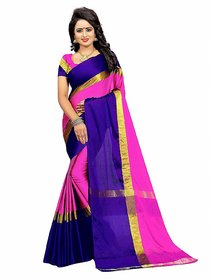 Designer Purple and pink Color cotton silk  Saree By Omstar Fashion(purplepata)