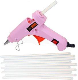 Glun 20 Watt Hot melt  Pink glue gun with 10 transparent glue sticks