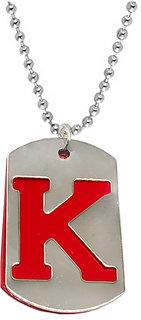 Men StyleLetter k Alphabet Locket With Chain Stainless Steel, Metal Pendant Set