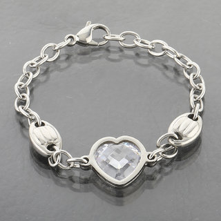 Silver Shine Classic Look Heart Diamond Bracelet For Girls And Women Jewelry