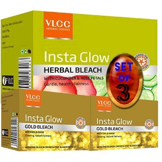 VLCC Insta Glow Gold Bleach + Herbal Bleach (Set of 3)
