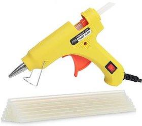 Glun 20 Watt Hot melt  Yellow glue gun with 10 transparent glue sticks