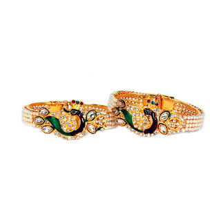 Oanik Latest Tradition Dancing Peacock With Pearl Gold Plated Bangles Set for Women and Girls