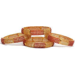 Oanik Latest Tradition Jewellery Gold Plated Antique Pearl Bangle Set for Women and Girls( Set of 4)