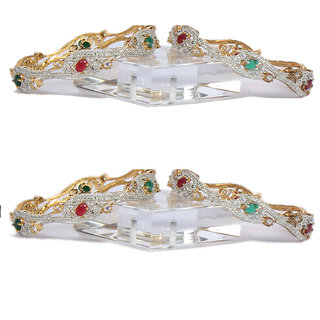 Oanik Red Green American Diamond Gold Plated Designer Bangles Jewellery for Women and Girls( Set of 4)
