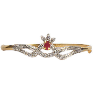 Oanik Latest Traditional Red American Diamond Gold Plated Designer Bangles Jewellery for Women and Girls