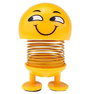 Eastern Club Smiley Spring Doll, Cute Emoji Bobble Head Dolls for Car Interior Dashboard (Pack of 1)