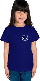 Haoser Girls Navy Blue Cotton White Printed Regular Fit T-Shirt