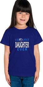 Haoser Girls Navy Blue Cotton White ,Blue Printed On Front Regular Fit T- Shirt