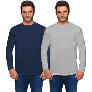 Haoser Men's Slim Fit Cotton full Sleeves Navy Blue and Grey T- Shirts Pack of 2