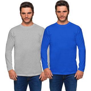 Haoser Grey & Royal Blue Round Neck Cotton Slim fit Full Sleeves T-shirts For men's Pack of 2