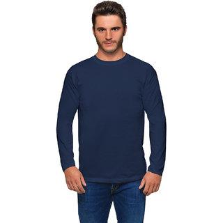 Haoser Black Navy Blue Round Neck slim Fit Full Sleeves T- shirts For Men's