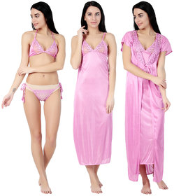 Aileyis Pink Satin Nighty, Wrap Gown, Bra And Panty (Pack of 4)
