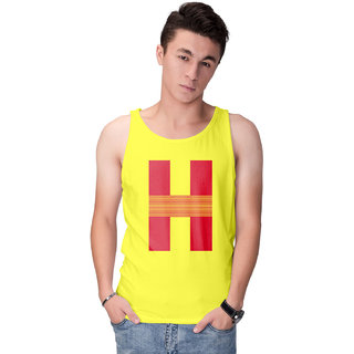 Haoser Men's Yellow Cotton Red Typo Graphy Printed Vest