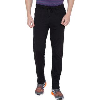 Haoser Solid Black Cotton Track Jogger for Men
