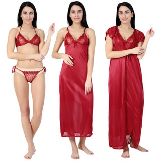 Aileyis Maroon Satin Nighty, Wrap Gown, Bra And Panty (Pack of 4)