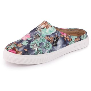 Fausto Women's Canvas Flowers Print Slip On Back Open Shoes
