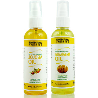 Donnara Organics 100% Pure Jojoba oil and Wheatgerm oil Combo of 2 Bottles of 100 ml(200 ml)