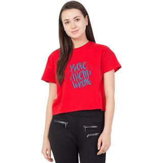 Haoser Women Red Printed Round Neck Half Sleeve Printed Crop Top